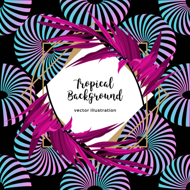 creative tropical card, palm leaves floral frame. abstract neon striped shapes on a black background. fashionable exotic pattern background. vector eps10 - jungle stock illustrations