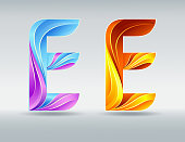 Creative twisted letter E. Abstract 3D font. Caramel and ultraviolet colors. An elegant typographic concept. Isolated vector symbol on a light background. Template for corporate identity.