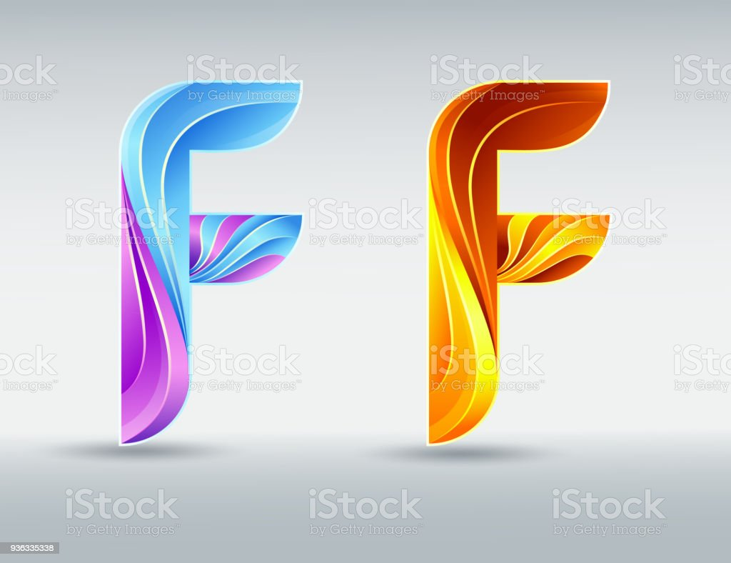 Creative Twisted Letter F Abstract 3D Font Caramel And Ultraviolet Colors An Elegant