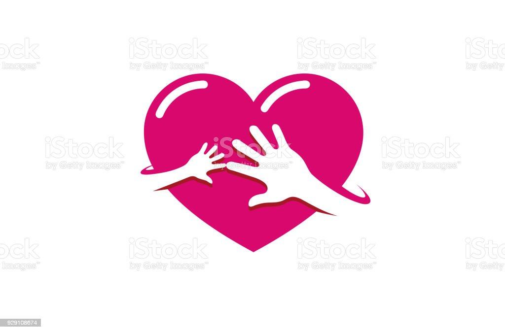 Kreative Zwei Hande Rot Herzsymbol Stock Vektor Art Und Mehr Bilder