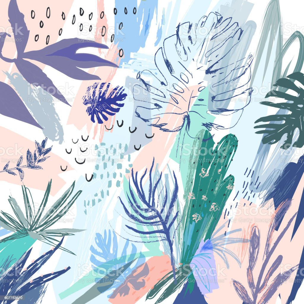 Creative universal floral background in tropical style. ベクターアートイラスト