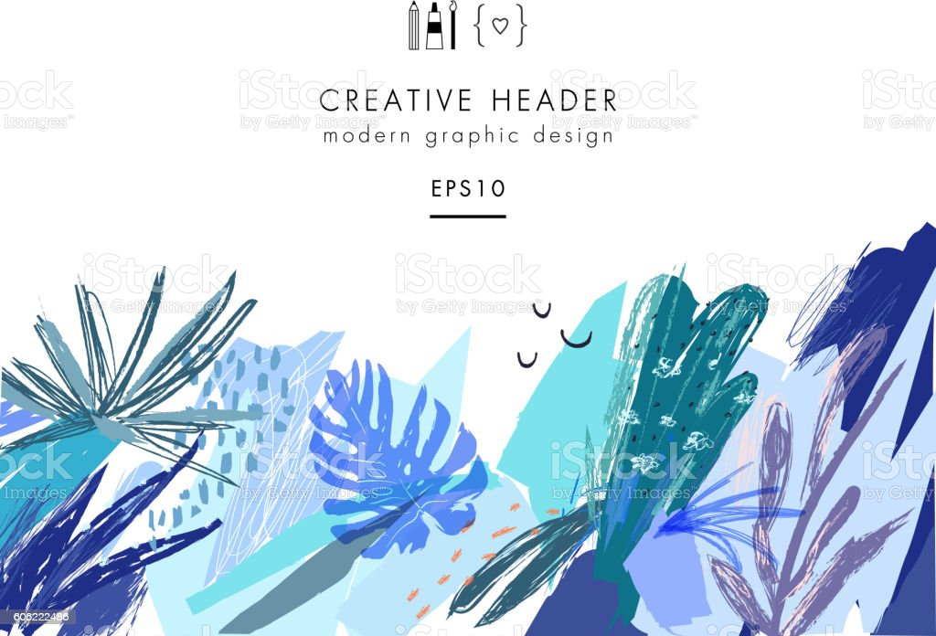 Creative universal floral header in tropical style. royalty-free stock vector art