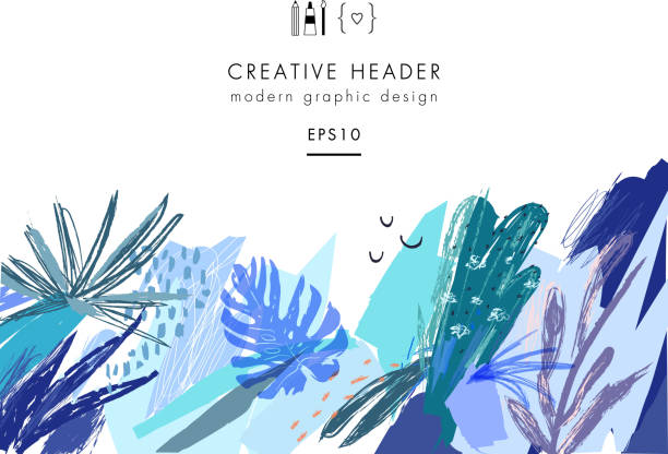 Creative universal floral header in tropical style. - Illustration vectorielle
