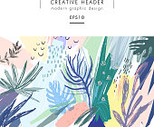 Creative universal floral header in tropical style. Hand Drawn textures. Vector. Isolated.
