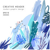 Creative universal floral header in tropical style. Vector