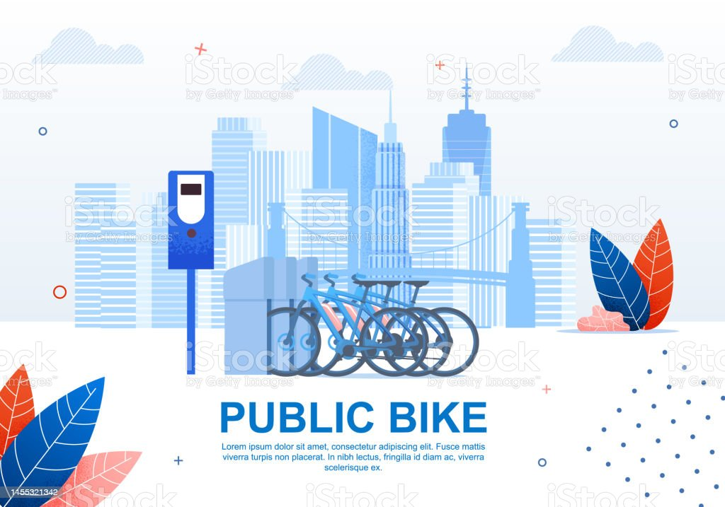 Creative Urban Transportation, Public Bike Cartoon Flat Banner Vector...
