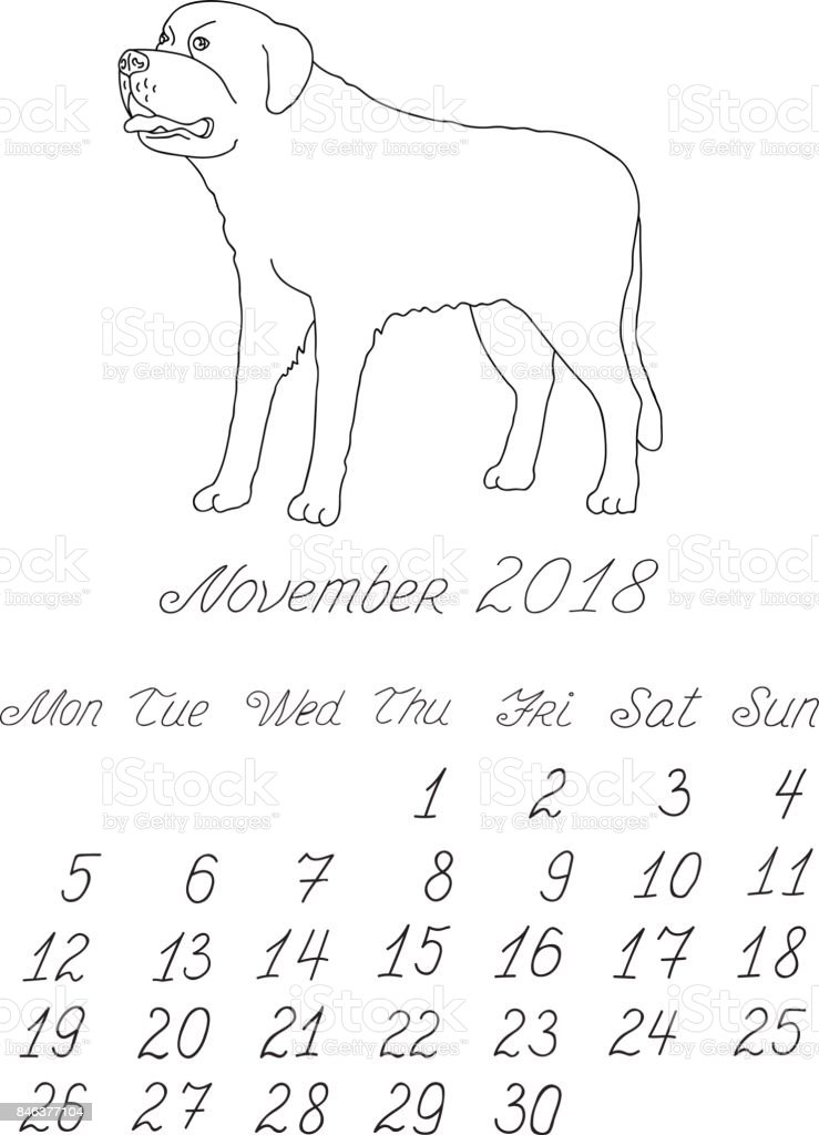 creative vector freehand drawn doodle monthly english calendar template for year 2018 with illustration of different