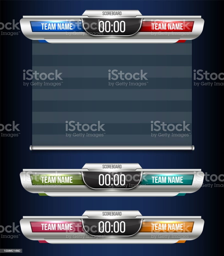 Creative vector illustration digital scoreboard broadcast graphic isolated on transparent background. Art design lower thirds template. Abstract concept soccer, football, basketball, futsal element vector art illustration