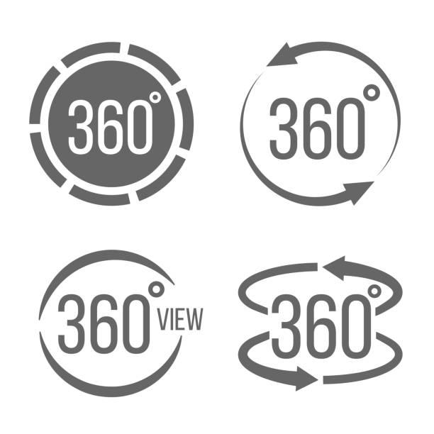 ilustraciones, imágenes clip art, dibujos animados e iconos de stock de ilustración de vector creativo de 360 grados de vista relacionadas con conjunto de signo aislado sobre fondo transparente. diseño de arte. concepto abstracto rotación gráficos flechas, panorama, elemento de casco de realidad virtual - 360