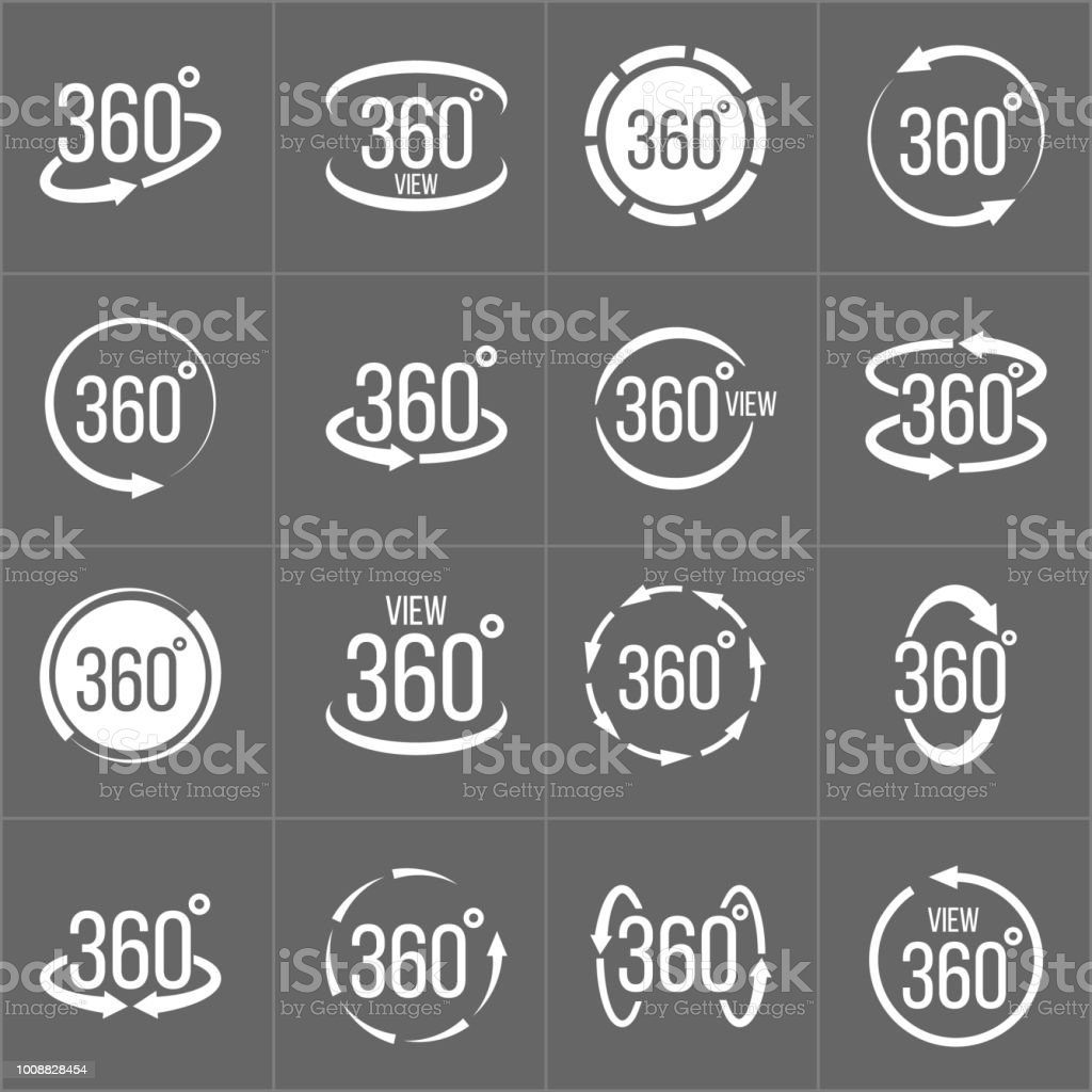 Ilustración de vector creativo de 360 grados de vista relacionadas con conjunto de signo aislado sobre fondo transparente. Diseño de arte. Concepto abstracto rotación gráficos flechas, panorama, elemento de casco de realidad virtual - ilustración de arte vectorial