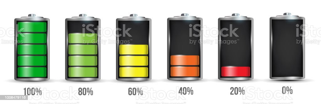 Creative vector illustration of 3d different charging status battery load isolated on transparent background. Discharged power sources. Art design. Abstract concept graphic element for displays, icon vector art illustration