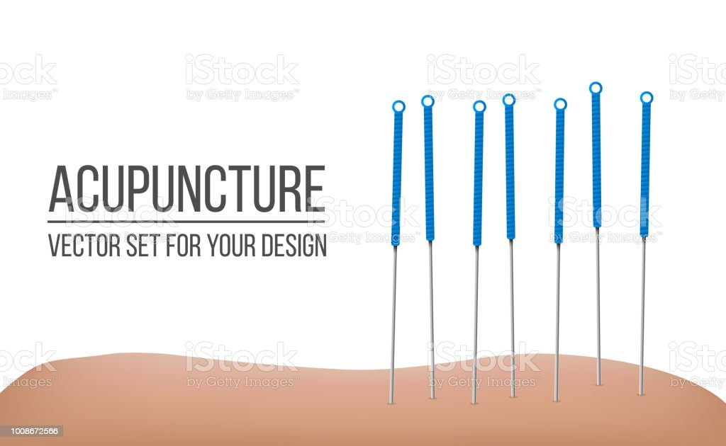 Ilustración de vector creativo de la terapia de acupuntura aislada sobre fondo transparente. Tratamientos de spa de diseño de arte. Elemento gráfico concepto abstracto - ilustración de arte vectorial