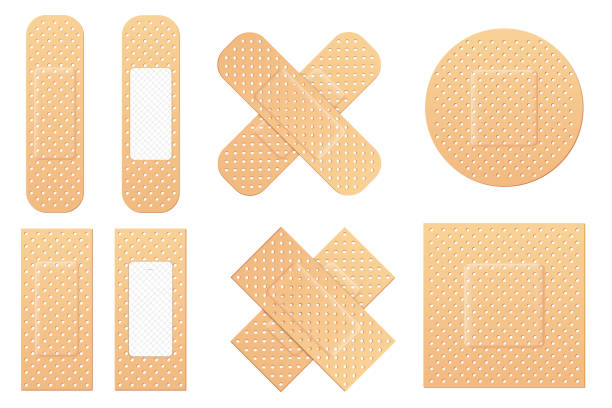 Creative vector illustration of adhesive bandage elastic medical plasters set isolated on transparent background. Art design medical elastic patch. Abstract concept graphic different shape element Creative vector illustration of adhesive bandage elastic medical plasters set isolated on transparent background. Art design medical elastic patch. Abstract concept graphic different shape element adhesive bandage stock illustrations