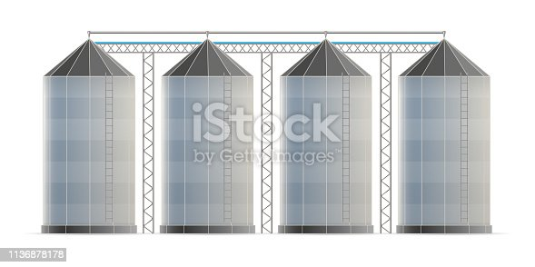 Creative vector illustration of agricultural silo storehouse for grain storage elevator isolated on transparent background. Art design farm template. Abstract concept graphic wheat, corn tank element.
