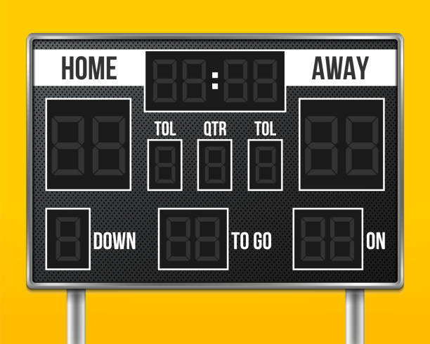 Creative vector illustration of american football scoreboard with infographics isolated on transparent background. Art design sport game score with digital LED dots. Abstract concept graphic element vector art illustration