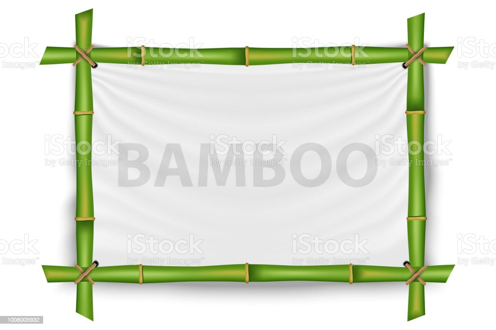 Creative vector illustration of bamboo stems frame isolated on background. Art design blank mockup template. Rope, paper, silk canvas. Abstract concept tropical signboard. Empty place for your text vector art illustration