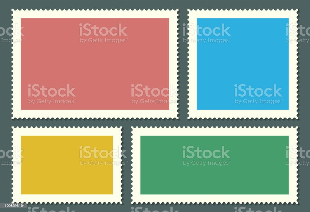 creative vector illustration of blank postage stamps set isolated on