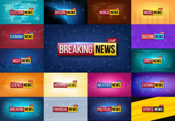 속보 뉴스 배경의 크리에이 티브 벡터 일러스트입니다. 세계, 스포츠, 날씨, 금융, 정치, 문화, 과학, 아침, 저녁, 경제, 음악, 선거, 특별 한 tv 쇼, 매일 밤 - 역사적 중대 사건 stock illustrations