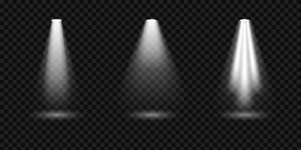 Creative vector illustration of bright lighting spotlights set, light sources isolated on transparent background. Art design beam for concert, scene illumination. Abstract concept graphic element Creative vector illustration of bright lighting spotlights set, light sources isolated on transparent background. Art design beam for concert, scene illumination. Abstract concept graphic element. flashlight stock illustrations