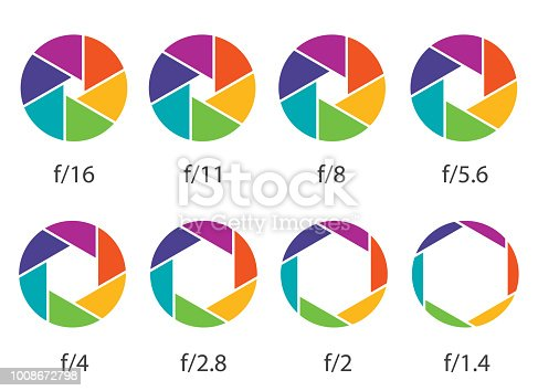 Creative vector illustration of camera shutter aperture with different iso isolated on transparent background. Art design monochrome diagrams collection. Abstract concept graphic element.