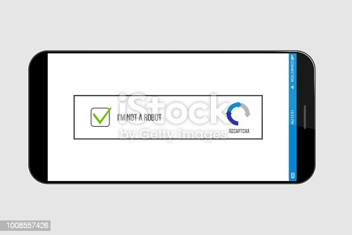 Creative vector illustration of captcha - i am on a robot isolated on background. Art design security login computer code. Abstract concept completely automated public turing test graphic element.