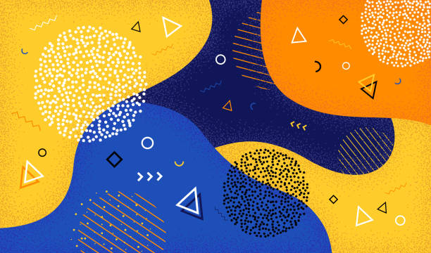 Creative vector illustration of cartoon color splash background with geometric shapes. Abstract pattern in  80s-90s style. EPS 10. vector art illustration