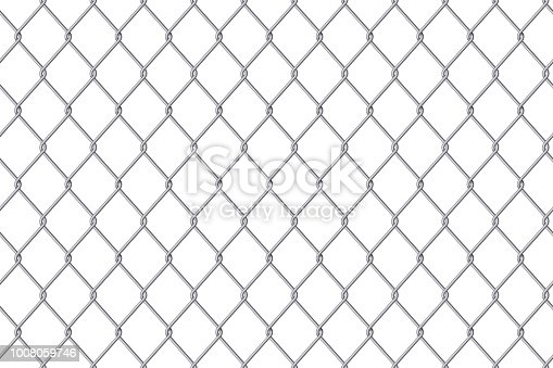 Creative vector illustration of chain link fence wire mesh steel metal isolated on transparent background. Art design gate made. Prison barrier, secured property. Abstract concept graphic element.