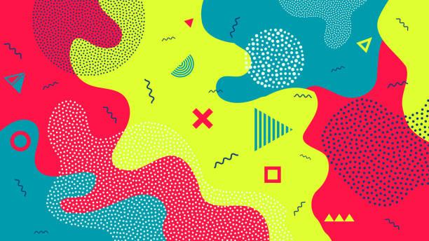 ilustraciones, imágenes clip art, dibujos animados e iconos de stock de ilustración de vector creativo de los niños de dibujos animados fondo de salpicaduras de color. arte diseño moda estilo moda de los años 80-90. patrón de forma geométrica de la línea. elemento de banner gráfico infantil concepto abstracto - fondos escolares