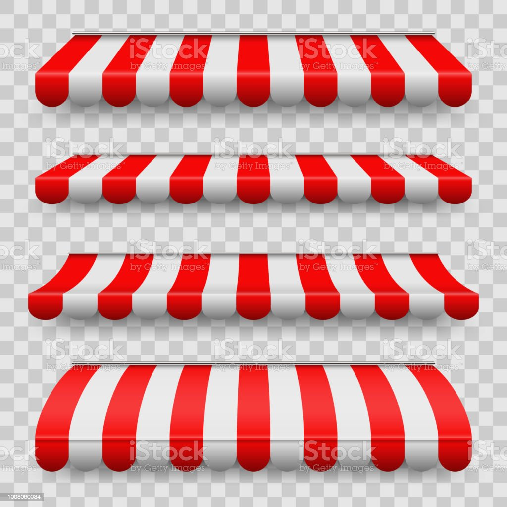 Creative vector illustration of colored striped awnings set for shop, restaurants and market store in different forms isolated on transparent background. Art design. Abstract concept graphic element vector art illustration
