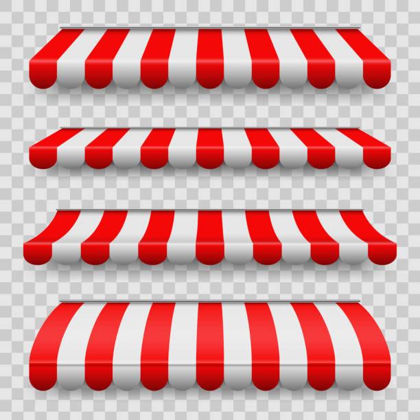 kreative vektor-illustration farbig gestreiften markisen für markt, shop und restaurants laden in verschiedenen formen, die isoliert auf transparenten hintergrund gesetzt. art-design. abstrakter begriff grafikelement - dachzelt stock-grafiken, -clipart, -cartoons und -symbole