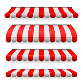 Creative vector illustration of colored striped awnings set for shop, restaurants and market store in different forms isolated on transparent background. Art design. Abstract concept graphic element.