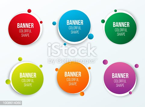 Creative vector illustration of colorful circle text boxes set isolated on background. Overlay colors shape round banners art design. Fun label form. Paper style spot. Abstract concept graphic element