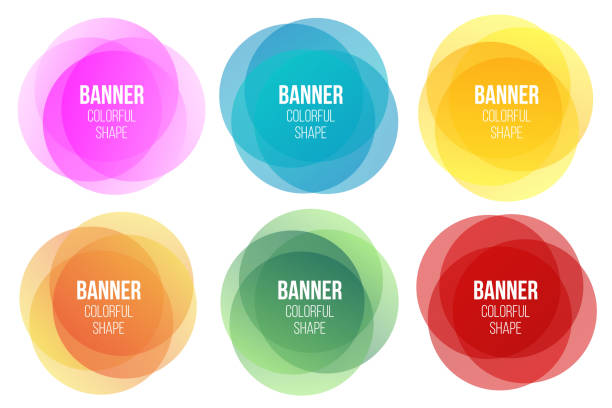 Creative vector illustration of colorful round abstract banners. Overlay colors shape art design. Fun label form. Paper style spot. Abstract concept graphic tag element for advertisements or printing Creative vector illustration of colorful round abstract banners. Overlay colors shape art design. Fun label form. Paper style spots. Abstract concept graphic tag element for advertisements or printing multi layered effect stock illustrations