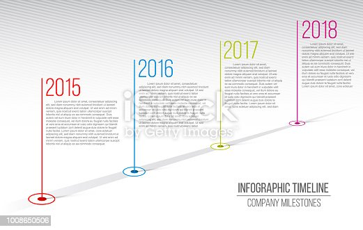 Creative vector illustration of company milestones timeline. Template with pointers. Curved road line art design with information placeholders. Abstract concept graphic element. History chart