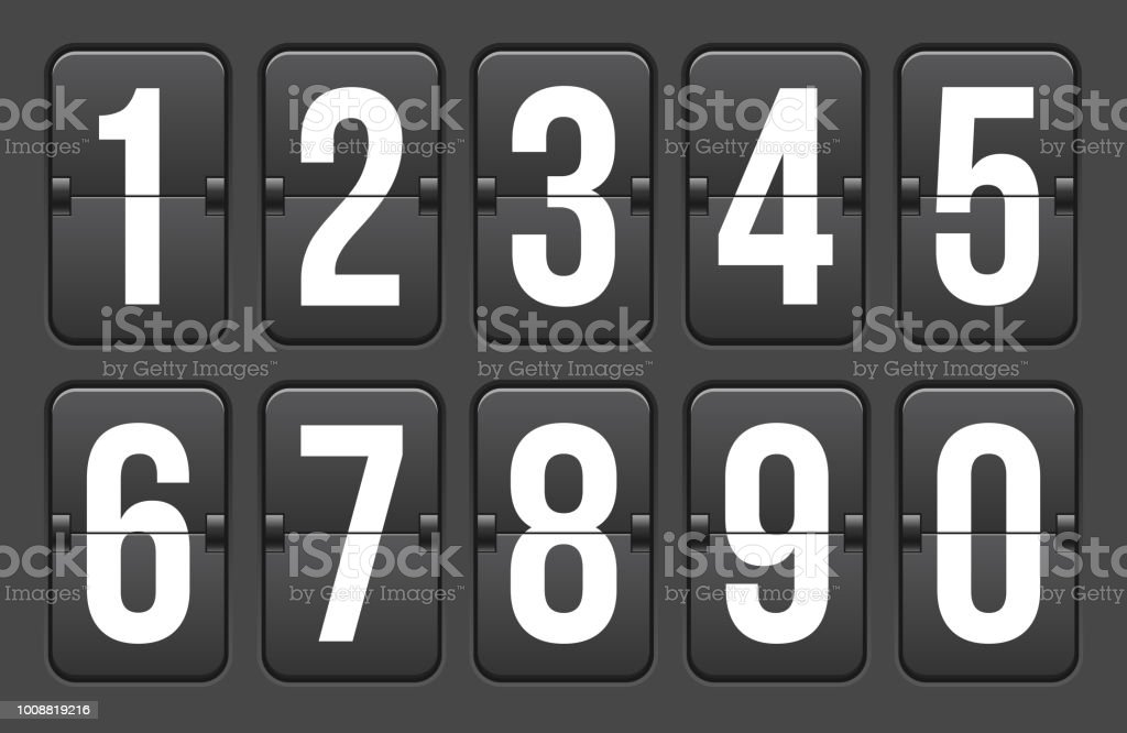 Creative vector illustration of countdown timer with different numbers isolated on background. Clock counter art design. Abstract concept graphic mechanical scoreboard panel element vector art illustration