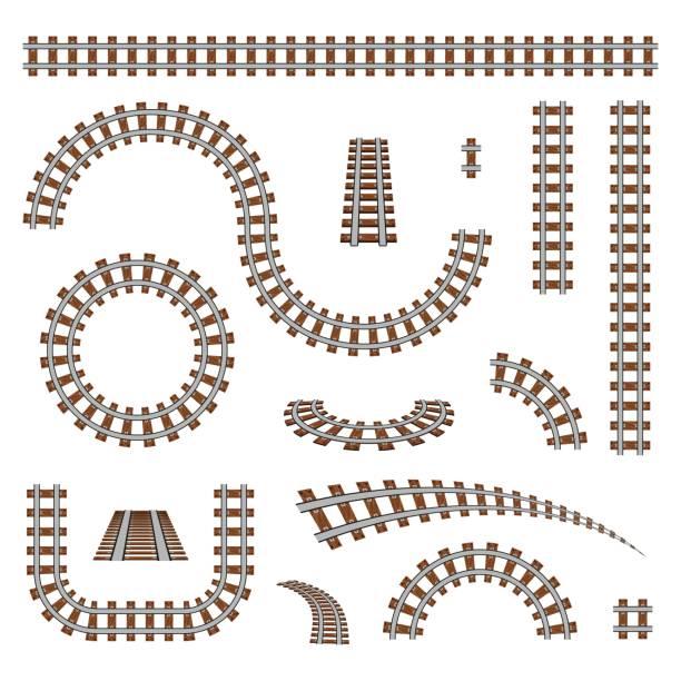 illustrations, cliparts, dessins animés et icônes de illustration créative vecteur de chemin de fer courbé isolé sur fond. conception de pistes droites d'art. posséder un embranchement de chemin de fer. route de transport de rail. élément graphique concept abstrait - voie ferrée