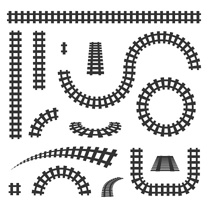 Creative vector illustration of curved railroad isolated on background. Straight tracks art design. Own railway siding. Transportation rail road. Abstract concept graphic element.