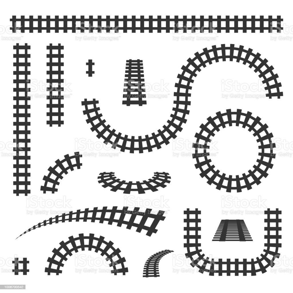 Kreative Vektor-Illustration von gebogenen Eisenbahn auf hintergrund isoliert. Gerade Gleise, Art-Design. Eigenen Sie Gleisanschluss. Transport-Schiene-Straße. Abstrakter Begriff Grafikelement – Vektorgrafik