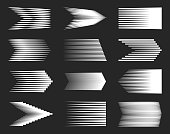 Creative vector illustration of different simple speed line isolated on background. Motion effects collection art design. Abstract concept graphic halftone element