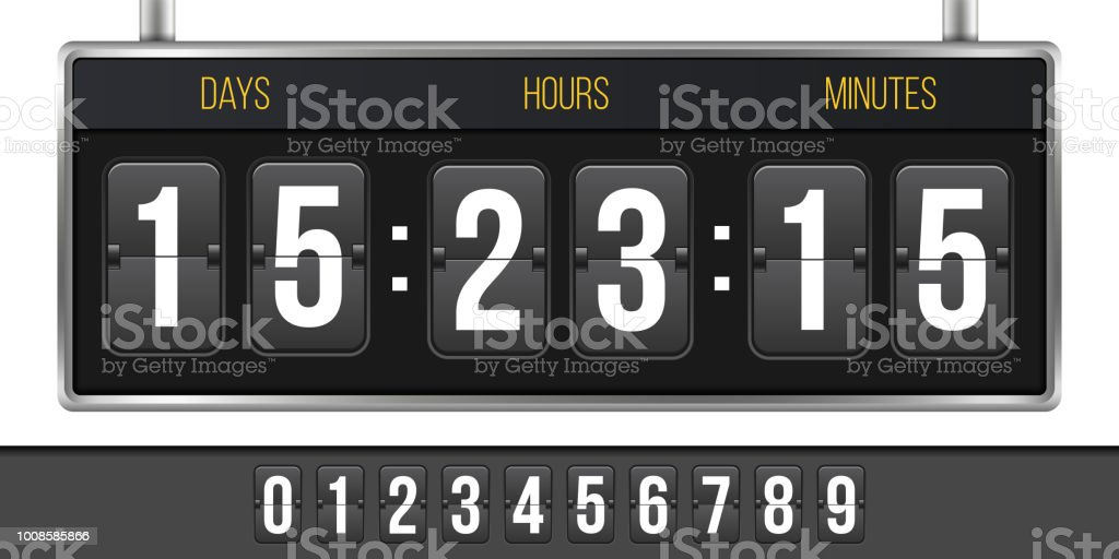 Creative Vector Illustration Of Digital Clock Timer Isolated On