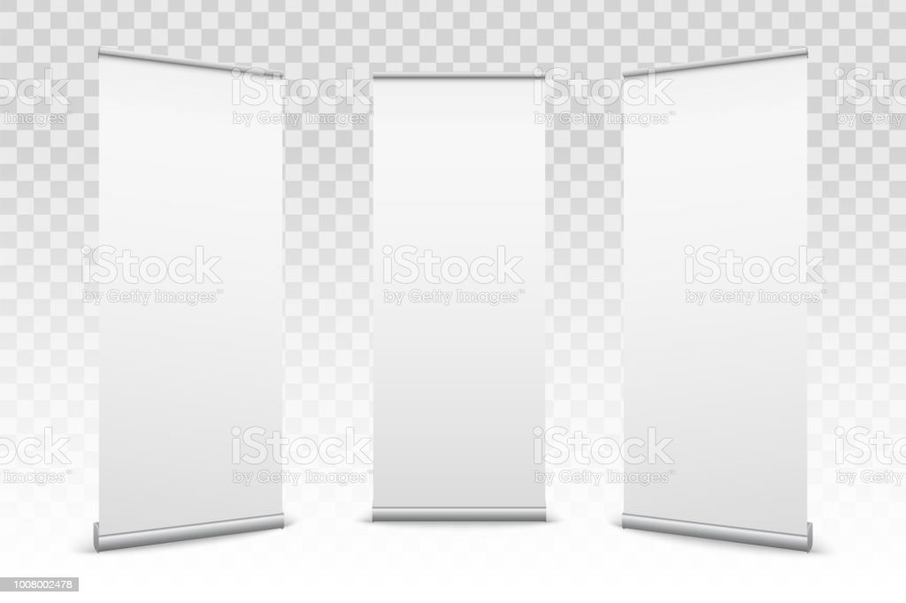 Creative vector illustration of empty roll up banners with paper canvas texture isolated on transparent background. Art design blank template mockup. Concept graphic promotional presentation element