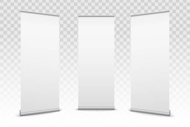 Creative vector illustration of empty roll up banners with paper canvas texture isolated on transparent background. Art design blank template mockup. Concept graphic promotional presentation element Creative vector illustration of empty roll up banners with paper canvas texture isolated on transparent background. Art design blank template mockup. Concept graphic promotional presentation element. vertical stock illustrations