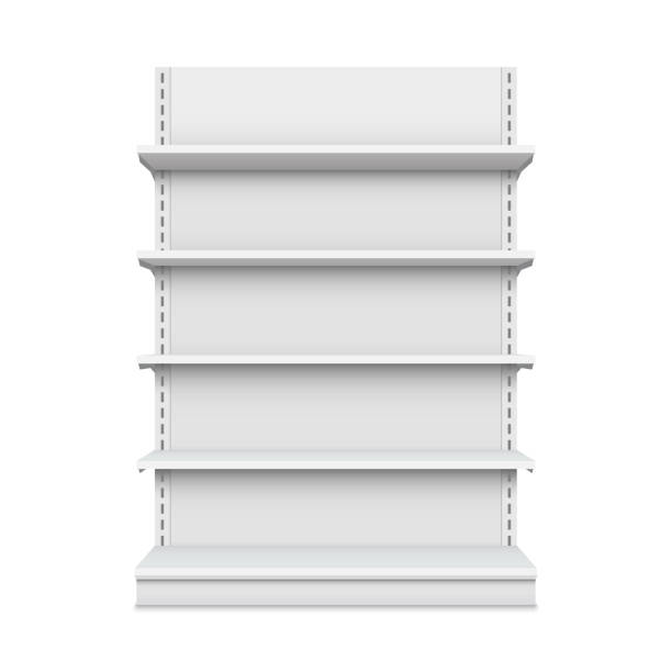 Creative vector illustration of empty store shelves isolated on background. Retail shelf art design. Abstract concept graphic showcase display element. Supermarket product advertising blank mockup Creative vector illustration of empty store shelves isolated on background. Retail shelf art design. Abstract concept graphic showcase display element. Supermarket product advertising blank mockup. market retail space stock illustrations