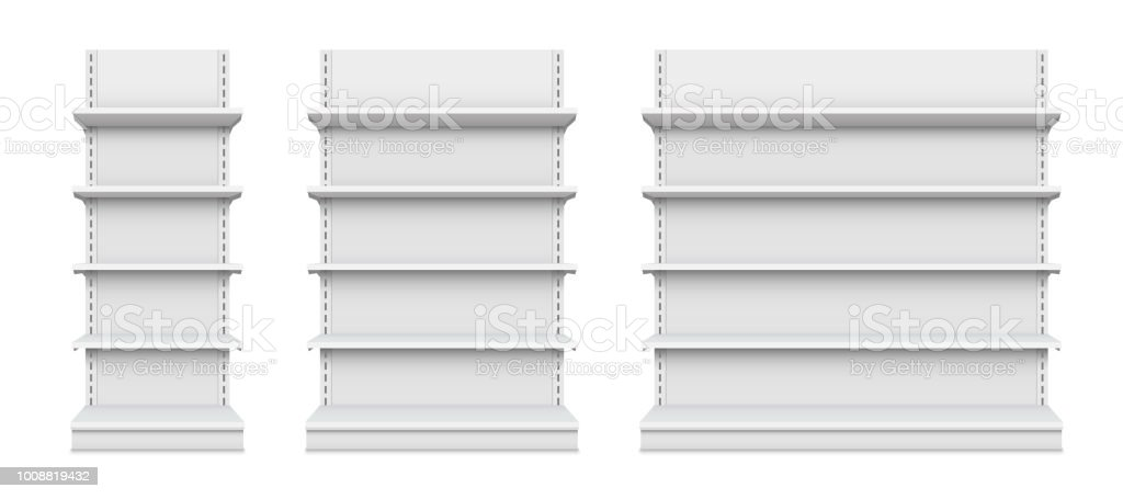 Creative vector illustration of empty store shelves isolated on background. Retail shelf art design. Abstract concept graphic showcase display element. Supermarket product advertising blank mockup vector art illustration