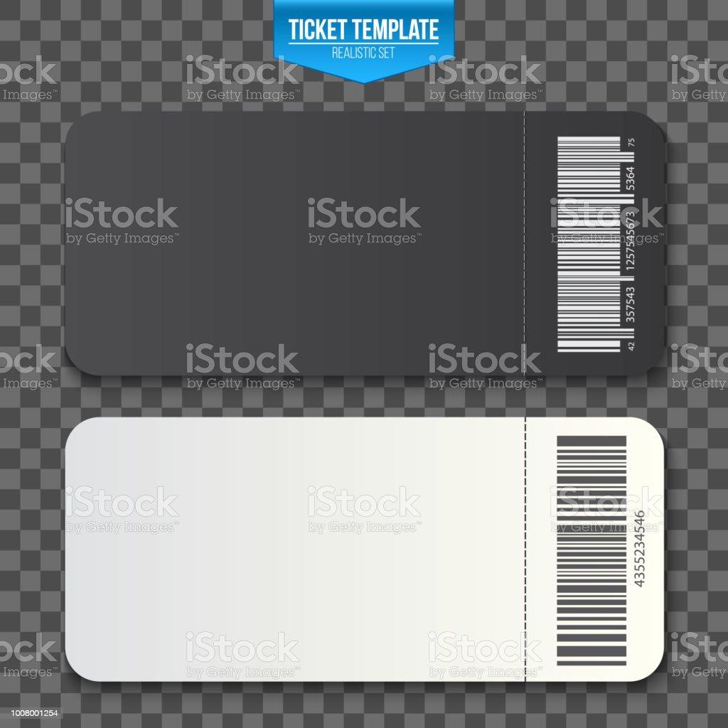 Creative Vector Illustration Of Empty Ticket Template Mockup Set
