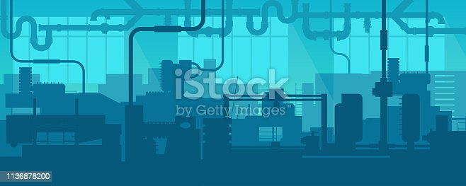 istock Creative vector illustration of factory line manufacturing industrial plant scen interior background. Art design the silhouette of the industry 4.0 zone template. Abstract concept graphic element 1136878200