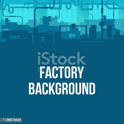 Creative vector illustration of factory line manufacturing industrial plant scen interior background. Art design the silhouette of the industry 4.0 zone template. Abstract concept graphic element.