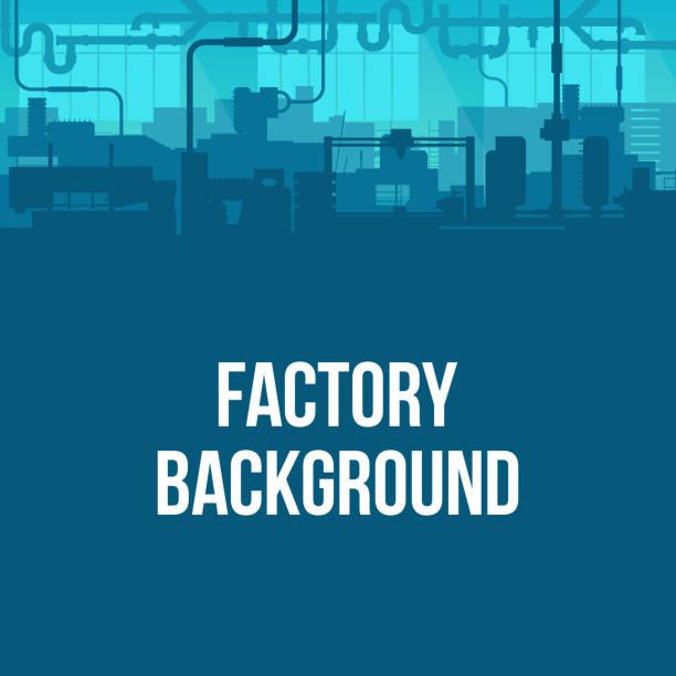 kreatywna ilustracja wektorowa produkcji przemysłowej fabryki scen interior background. sztuka zaprojektować sylwetkę przemysłu 4.0 szablon strefy. abstrakcyjny element graficzny koncepcyjny - produkować stock illustrations