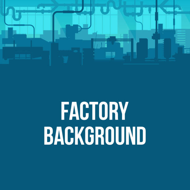 ilustrações de stock, clip art, desenhos animados e ícones de creative vector illustration of factory line manufacturing industrial plant scen interior background. art design the silhouette of the industry 4.0 zone template. abstract concept graphic element - factory