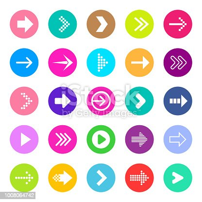 Creative vector illustration of flat simple colorful circle arrow set pointing in the right direction isolated on transparent background. Art design sign symbol icon. Abstract concept graphic element.